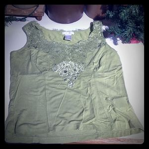 Worthington Petite Stretch Green Top